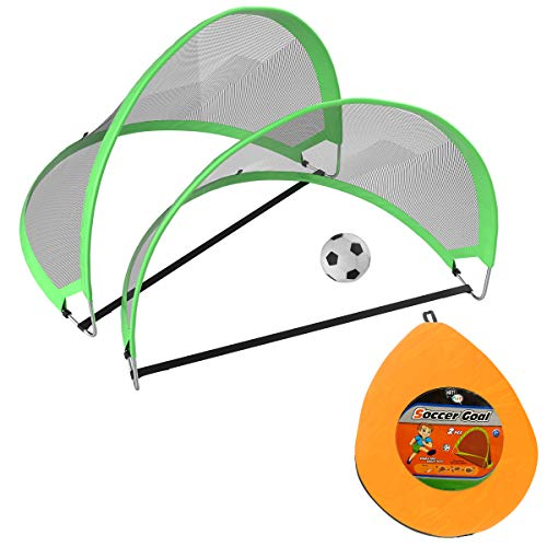 Hey! Play! Pop Up Soccer Goals- Set of 2 Kids Outdoor Mini Play & Practice Nets with Travel Carrying Bag & Ball-Fun Portable ()