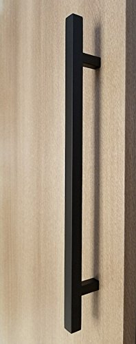 48'' Modern 1'' x 1'' Square Shape Ladder Pull Handle / Push-Pull Stainless-Steel Door Handle for Entrance/Entry/Shower/Wood/Glass/Office/Shop/Store, Interior/Exterior - Matte Black Powder Finish by Strongar Hardware (Image #4)