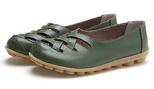 Eagsouni Women's Leather Loafers Moccasins Casual Flat Boat Shoes Cut Out Driving Sandals Army Green YgiNoWfLH