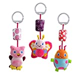 Donsane 3 Packs Baby Rattle Infant Car Crib Stroller Hanging Toys with Wind Chime and Squeak,Girl
