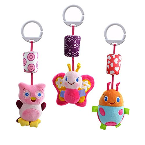 Donsane 3 Packs Baby Rattle Infant Car Crib Stroller Hanging Toys with Wind Chime and Squeak,Girl by Donsane