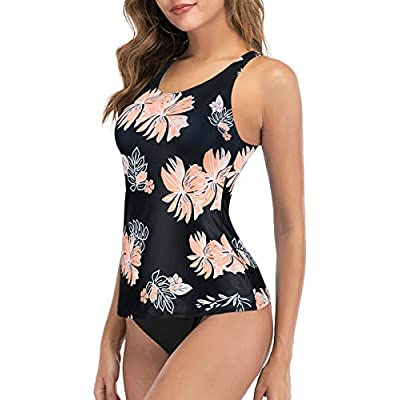 Century Star Tankini Swimsuits for Women Halter Bathing Suits Crew Neck Two-Piece Swimwear Tank Top with Bikini Bottom: Clothing