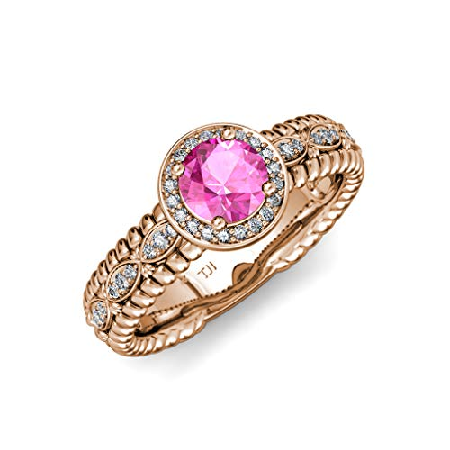 TriJewels Pink Sapphire & Diamond Lavaliere Shank Halo Engagement Ring 1.22 ctw 14K Rose Gold.size 8.0 ()