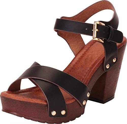 Cambridge Select Women's Retro 70s Studded Clog Crisscross Strappy Chunky Platform Block Heel Sandal,9 B(M) US,Black ()