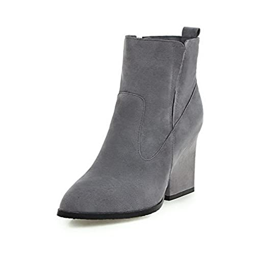 Women's Pointed Closed Toe Low-Top High-Heels Solid Imitated Suede Boots