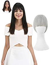 REECHO Fashion One Piece Clip in Hair Bangs / Fringe / Hair Extensions Color: Silver Grey