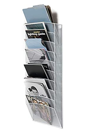Gray Newspapers Magazine Klickpick Office 10 Sections Hanging Files Wall Mounted Metal Mesh Document File Organizer Magazine Holder Rack Organizer Multipurpose Use to Display Files