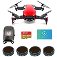 DJI MAVIC Air Flame Red - Bundle With 64GB MicroSDXC Card, Hard Case Backpack, FS Labs FS62 Multi-Coated 4-Pack Filter, Care Refresh Mavic Air