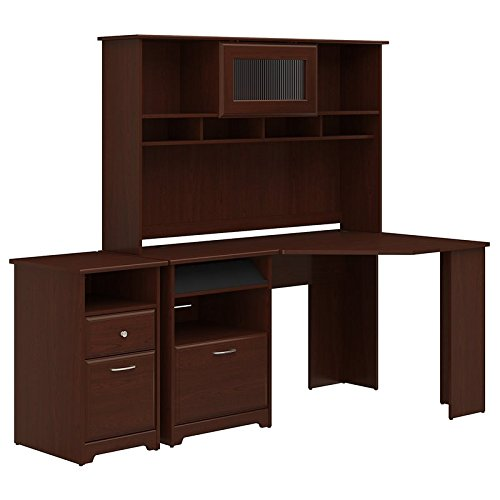 Corner Desk with Hutch and 2 Drawer File Cabinet in Harvest Cherry ()