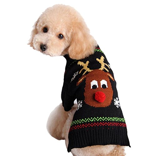 Gotd Christmas Theme Elk Deer Pet Dog Puppy Cat Warm Deer Sweater Clothes Knit Winter Apparel (XL, (Halloween Theme 1978)