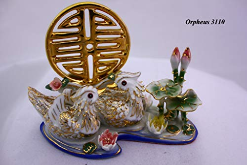 Feng Shui Mandarin Ducks -Hand Crafted and Decorated Chinese Porcelain, Figurine 2095522 (White)