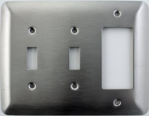 (Mulberry Princess Style Satin Stainless Steel 3 Gang Switch Plate - 2 Toggle Light Switch Opening 1 GFI/Rocker Opening)