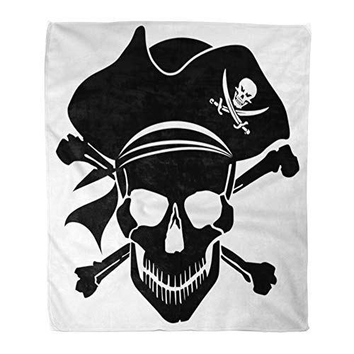 Emvency Throw Blanket Warm Cozy Print Flannel Ship Pirate Skull Captain Hat and Cross Bones Clipart Silhouette Comfortable Soft for Bed Sofa and Couch 60x80 Inches ()
