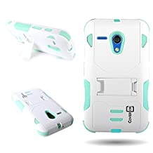 Moto G Case, CoverON® for Motorola Moto G / Moto G LTE (1st Gen) Hybrid Case [DuraShield Series] Heavy Duty Shockproof Protective Phone Cover with Kickstand - Teal/white