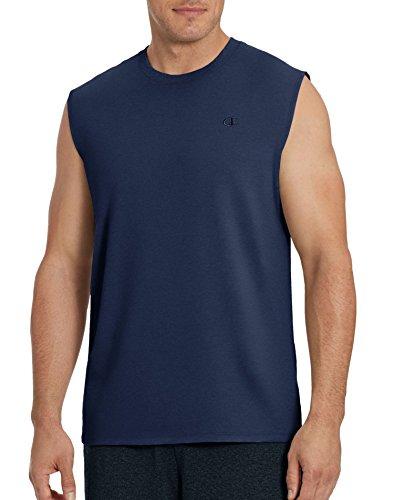 Champion Men's Classic Jersey Muscle T-Shirt, Navy, XL