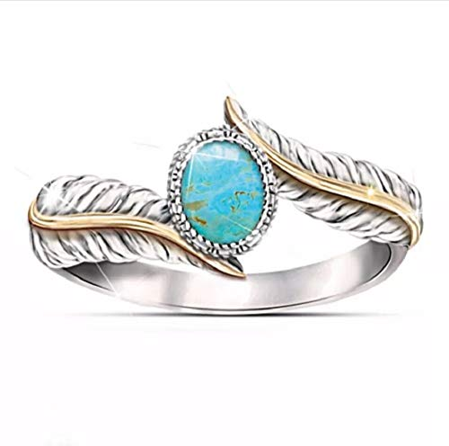 - i&D Jewelry Women's Olive Branch Leaves Feather Rings Best Friends Minimalist Blue Marble Stone Rings Jewelry(Rings)