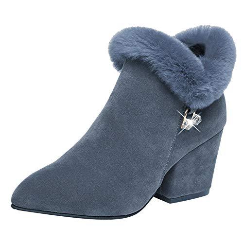 Creazrise Women's Faux Suede Pointed Toe High Chunky Heel Side Zip Graceful Fur Trim Dress Ankle Boots (Beige,8) ()