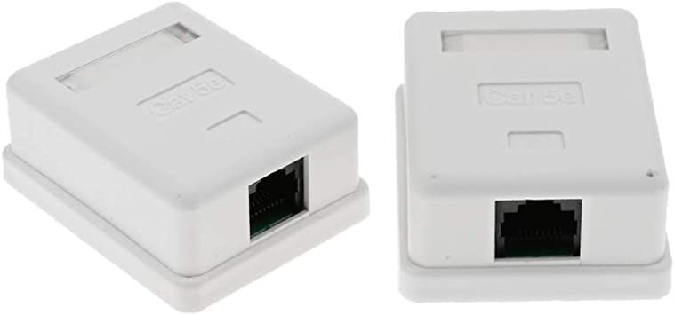 SDENSHI 2Pcs 1 Puerto Cat5e RJ45 Red Y Enternet Cable Pared Montaje En Superficie Caja Compacta: Amazon.es: Electrónica
