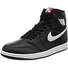Jordan Nike Boy's Air 1 Retro High Basketball Shoe Black/White-Black-University Red 6.5Y
