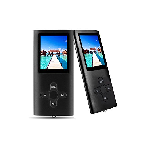 RHDTShop MP3 Player MP4 Player with a Internal 16GB Card, Ultra Slim 1.7 inch LCD Screen, Support UP to 64GB Card, Rechargeable Battery, Portable Digital Music Player, Video Player, E-Book,Black