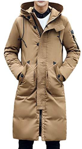 TTYLLMAO Khaki Outwear Long Winter Mid Thicken Coat Hood Men's Down UUwCvTZq