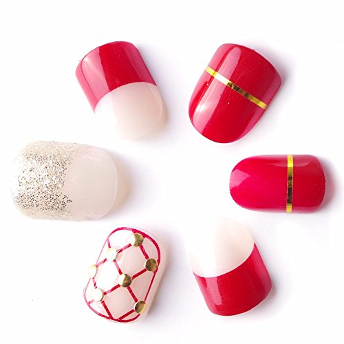 [24pcs Christmas Candy court Net Style Rivets Fake Nails Pink Red with Decora Thanksgiving Gift for Mother Short Oval] (Red Fake Nails)