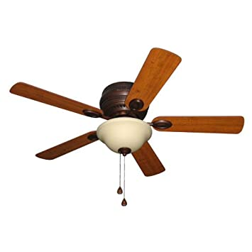 Harbor Breeze Mayfield 44 In Antique Bronze Flush Mount Ceiling Fan With  Light Kit