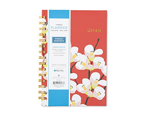 "Blue Sky Snow & Graham 2018 Weekly & Monthly Planner, Hardcover, Twin-Wire Binding, 5"" x 8"", Quince - 103278"