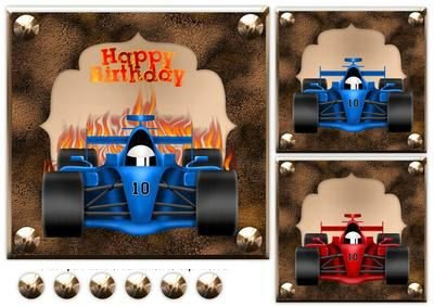 3 F1 Racing Car Toppers by Sharon Poore