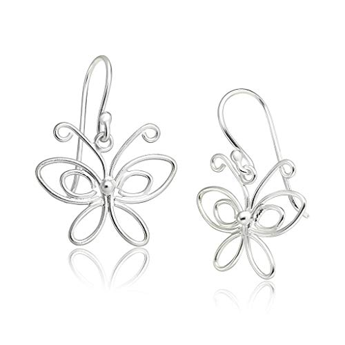 Big Apple Hoops - Genuine 925 Sterling Silver 'Beauty of Nature' Queen Butterfly Dangle Hook Earrings | in 3 Polish Mirror Finishes (Silver, Yellow Gold, Rose Gold)