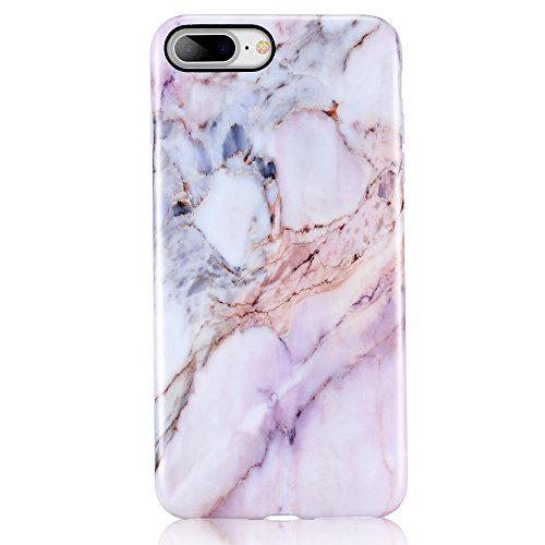 Cute Pastel (Pink iPhone 7 Plus Case, iPhone 8 Plus Case, Leminimo Marble Slim Fit Full Protection Anti Shock Design TPU Flexible Case for iPhone 7/8 Plus [5.5 inch Display] - Nature Marble)