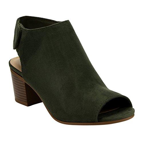 Cutout Light Stacked Khaki Block CityClassified Ankle Womens IB69 Heel Strap Bootie EPwcWzXq