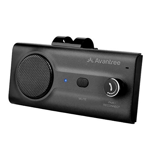Avantree CK11 Hands Free Bluetooth for Cell Phone Car Kit, Loud Speakerphone, Siri Google Assistant Support, Motion AUTO ON, Volume Knob, Wireless in Car Handsfree Speaker with Visor Clip - Black (Bluetooth Car Kit Text)