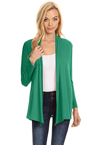 Simlu Womens Open Drape Cardigan reg and Plus Size Cardigan Sweater Long Sleeves - USA Emerald (Green Sweater Top)