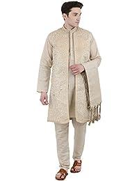 8b6187ff78f Kurta Pajama Stole and Overcoat Set for Men 4-Pieces Long Sleeve Sherwani  Wedding Party