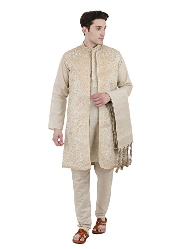 SKAVIJ Men's Embroidered Kurta Pajama Jacket and Stole Set (Medium, Beige)