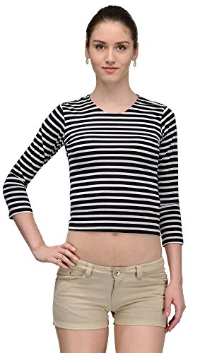 Trend18 Cotton Trend 18 Monochromic Stripe Top – Black