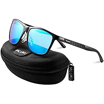 61de290c19 IALUKU Retro Driving Wayfarer Polarized Sunglasses for Men Metal Frame UV  Protection (Black amp Blue