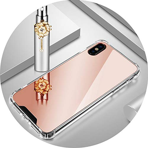 Mirror Protector Phone Cases for iPhone X XS MAX XR TPU PC Back Protect Case for iPhone 6 6S 7 8 Soft Silicone Cover Bags,Rose Gold B11897,for iPhone 7 Plus