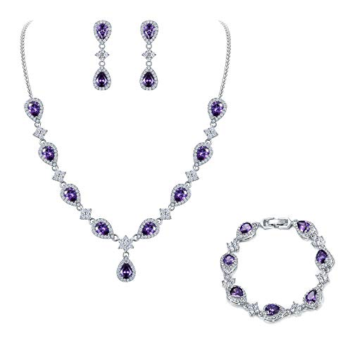 EleQueen Women's Silver-Tone Cubic Zirconia Teardrop Flower Bridal V-Necklace Set Tennis Bracelet Dangle Earrings Amethyst - Fine Jewelry Accessories