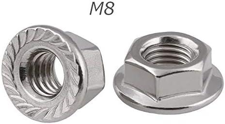 六角 フランジナット 六角 M8 & 六角穴付きボルト M8 × 50mm 304ステンレス 各10個 セレート付
