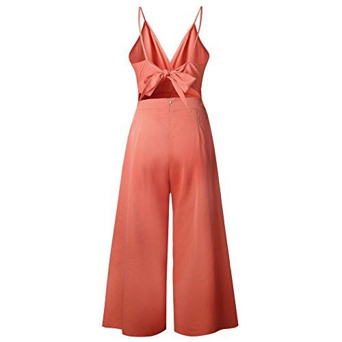 por Slim V Jumpsuit Elegante Noche Bodysuit Detrás Fiesta Playa Casual cuello Escotado de Mono Mujeres Pantalones mujer Naranja Longwu Club Skinny w8q6fSX
