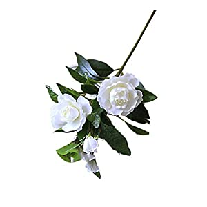 KMCMYBANG Artificial Plant Gardenia Flowers Artificial Silk Bouquets for Office Home Wedding Parties Decor(White,Yellow) Fake Mini Potted Grass (Color : White, Size : One Size) 1
