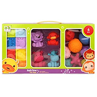 Baby Blocks, Balls and Buddies Set - Soft Building Blocks Sensory Ball Set teethers for Babies Bath Toys | 20-Pieces Activity Toy | Perfect Squeezing Toys (20-Pieces Activity Toy Set)