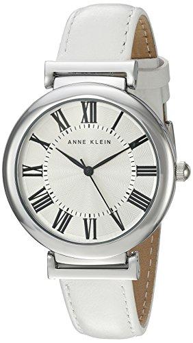 Anne Klein Women's AK/2137SVWT White Leather Casual Watch