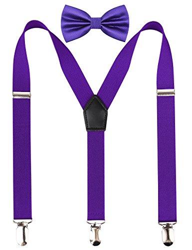 Alizeal 2.5CM Unisex's 3-Clip Suspender and Bow Tie Sets (Dark Purple)