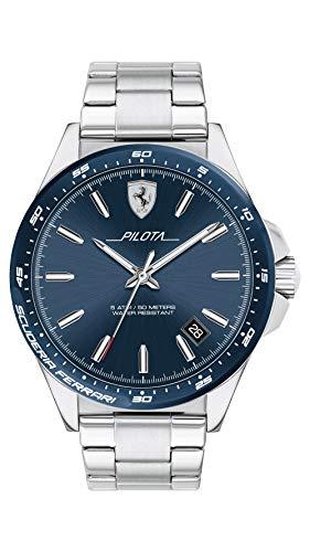 Ferrari Men's Pilota Quartz Stainless Steel and Bracelet Casual Watch, Color: Silver (Model: 830527)