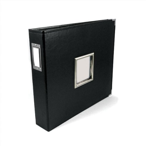 We R Memory Keepers Classic Leather 3-Ring Album with Window, 12x12 inch, Black