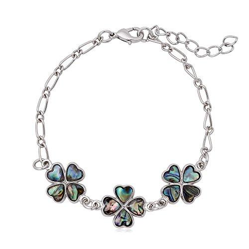 GUANDU Meaningful 4 Heart-shaped Leaves Lucky Alfalfa Abalone Shell Link Bracelet for Women Teen Girls