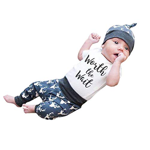 (3Piece Infants Newborn Baby Kids Boys Outfits Set,Short Sleeve Letter Print Romper Cartoon Deer Pattern Pants Hat Suit White)
